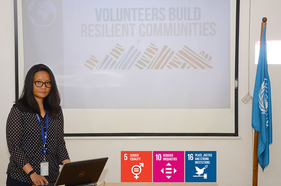 Trishna Bantawa (Nepal), UN Volunteer Field Coordination Officer with UNAMA makes a presentation about how volunteers build resilient communities, on the occasion of International Volunteer Day 2018.