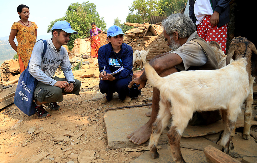 UNV-Assessing-damaged-home-Kunchok-Nepal-2015-earthquake