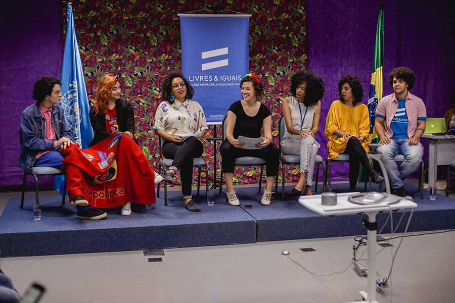 Workshop about the United Nations and LGBTI  rights with LGBTI activists in Brazil in 2016.