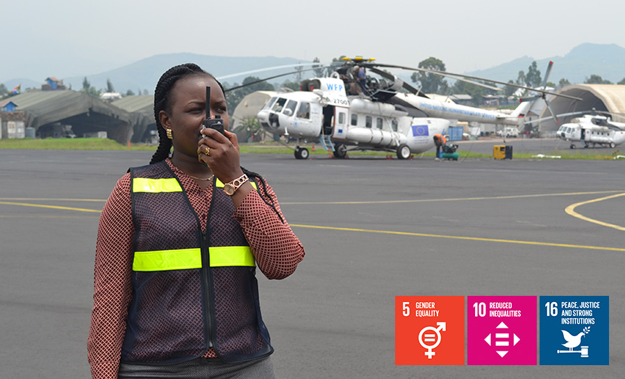 Grace Otieno, UN Volunteer Air Operations Planning Officer at the MOVCON Aviation section of MONUSCO in Goma, DRC, doing a pre-flight check.