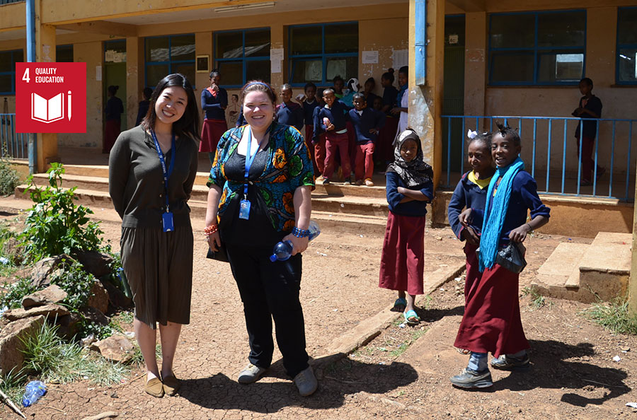 UN Youth Volunteer Marcela Krejci during a field visit to a primary school in Addis Ababa, where she worked on the preparation of an Africa Teacher Guide for Art, Music and Drama.