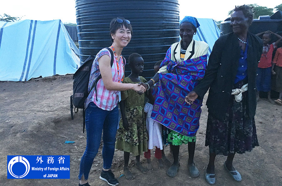 Asako Ikegami, UN Volunteer Education Project Officer under the Human Resource Development Programme, serving with UNESCO. Here, she visits internally displaced persons in Baringo County, Kenya.