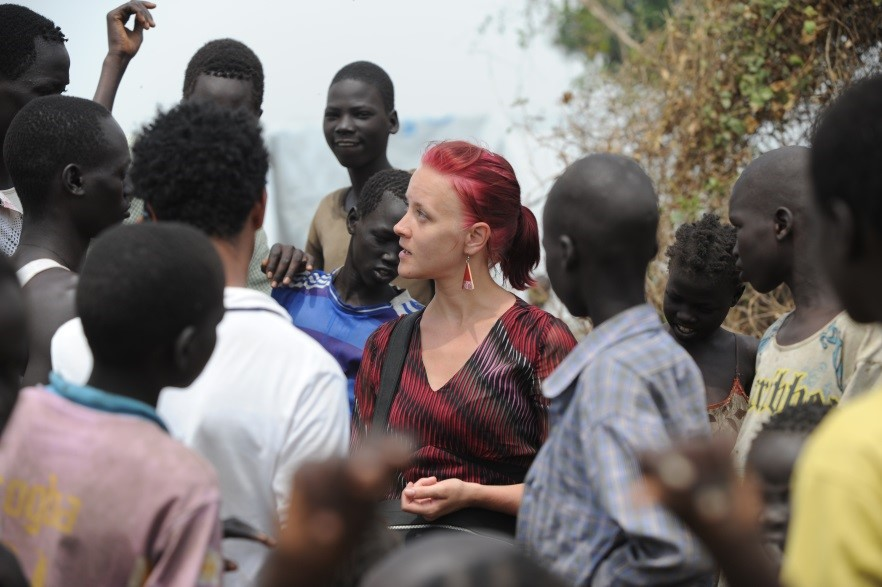 Heidi Lehto with South Sudanese refugees in Gambella, Ethiopia.