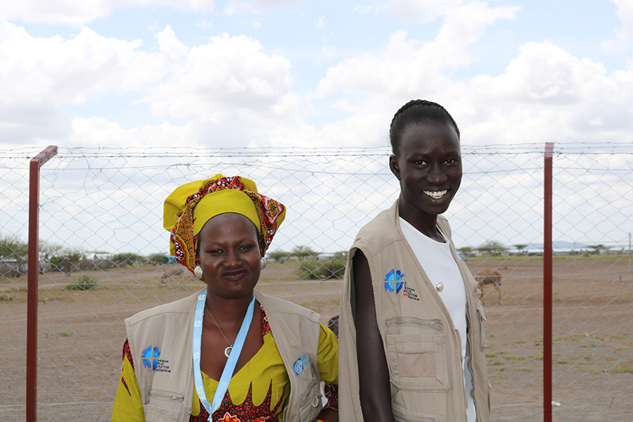 Refugee Volunteers Nyawal Bichoku and Christine Toto Charles from South Sudan at the Opening Ceremony.