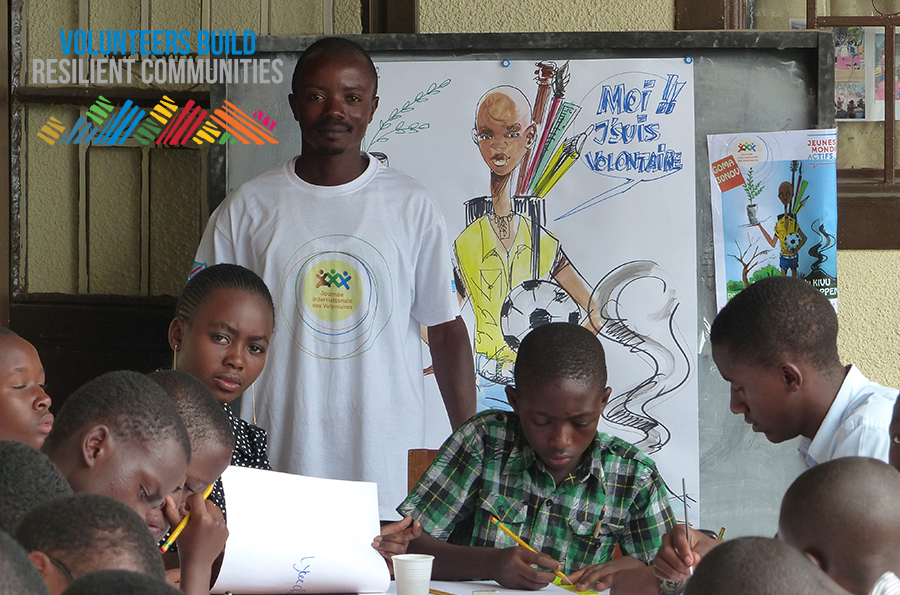 UN Volunteers in the Democratic Republic of Congo instill the values of volunteerism among youth.