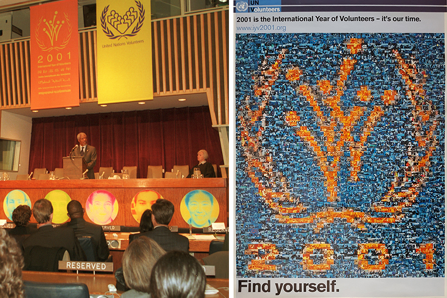 Marking IYV 2001 at the General Assembly in New York, United States of America.