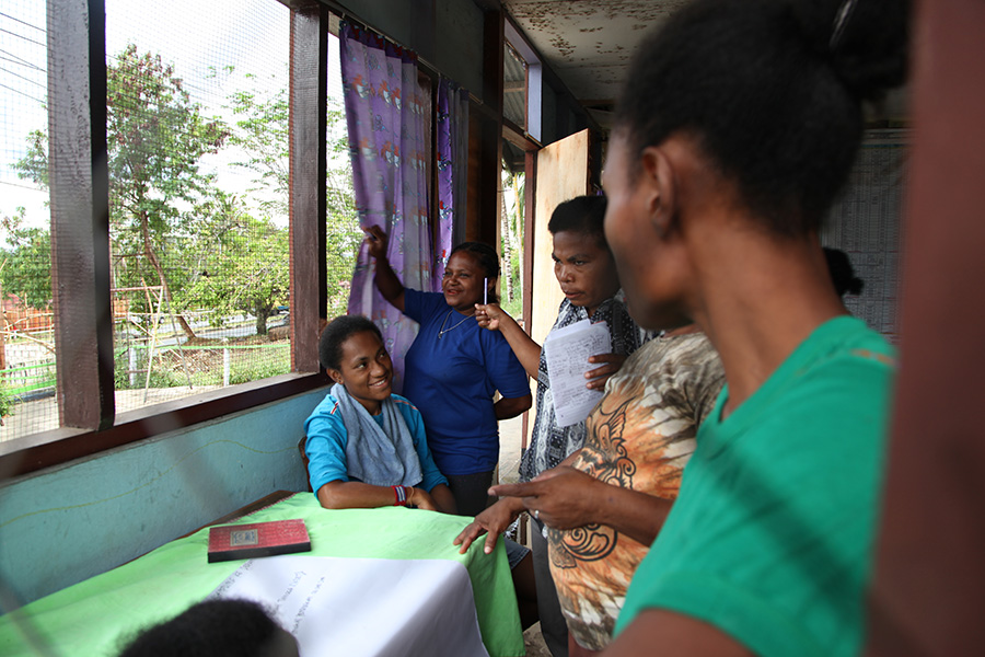 Participants of the caregiver sessions in Papua, Indonesia in Partners for Prevention programme.