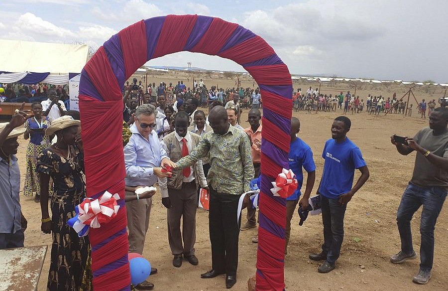 UNV Executive Coordinator, Mr Olivier Adam, while launching the second Community Volunteerism Centre in Kakuma refugee camp, Kenya
