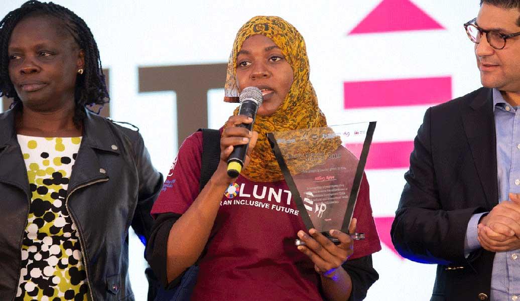 Shamimu Siraji, national UN Volunteer IT Associate, speaks after receiving her Volunteer of the Year Award at the East and Southern Africa Volunteer Awards Festival, held on 5 December 2019 in Nairobi, Kenya.