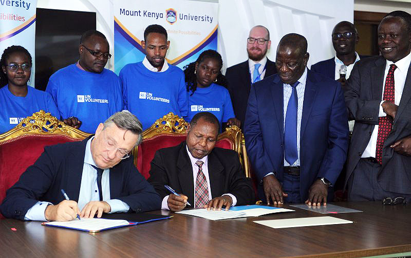 The Memorandum of Understanding was signed between UNV and the Mount Kenya University, with the participation of UNV Executive Coordinator Olivier Adam and Dr Peter G. Kirira, Director of the Mount Kenya University Foundation.