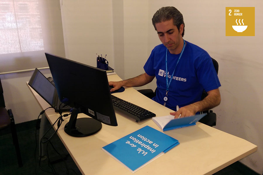 UN Volunteer Logistics Officer Bashar Shehadeh, from Damascus, Syria, serves with the WFP in Lebanon, checking shipping documents and liaising with suppliers, authorities and custom agents along the Lebanese and Syrian borders.