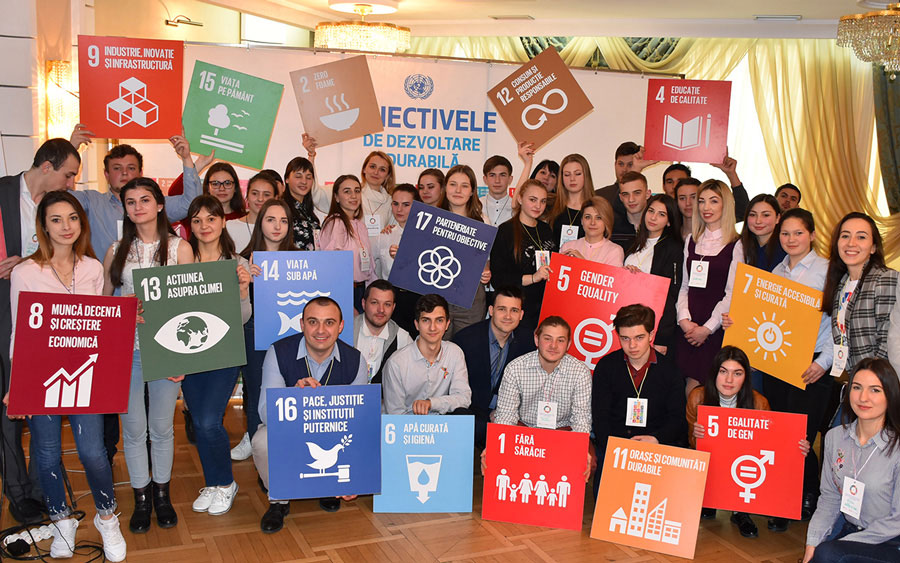 Participants in the National SDGs Youth Consultation workshop in the Republic of Moldova, April 2019.