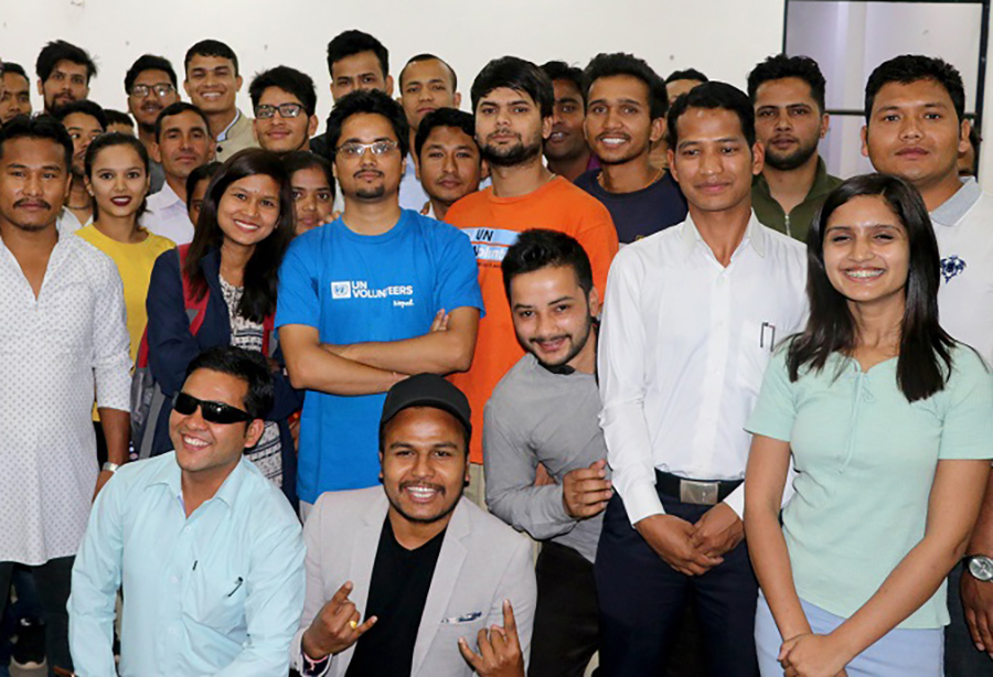 Panch Dev Bhatta, national UN Volunteer ICT Expert in Nepal, with other ICT officers after conducting a training session.