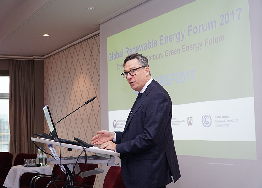 Olivier Adam speaking at the Global Renewable Energy Forum 2017