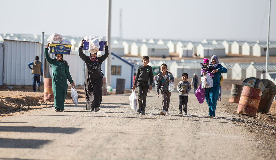 Syrian refugees in the Azraq camp in Jordan.