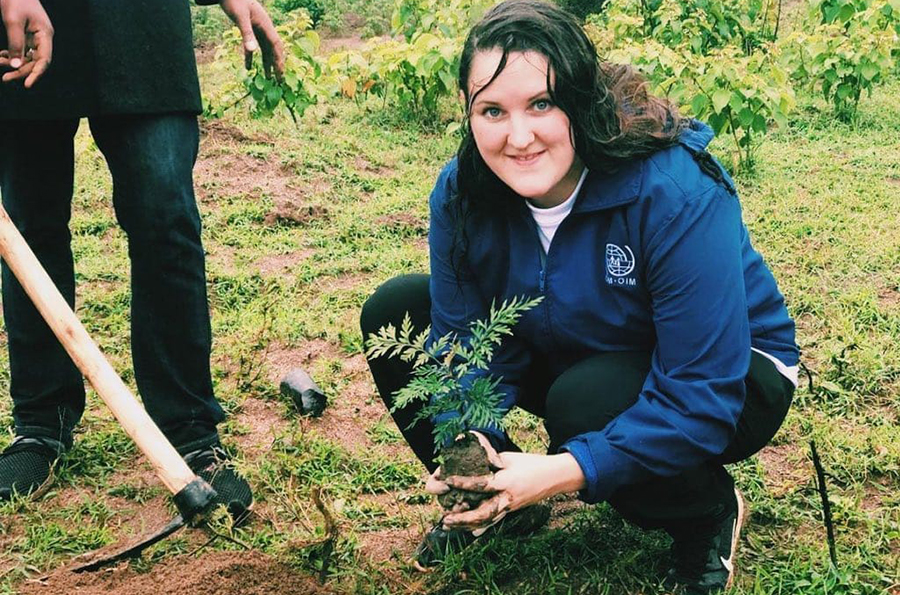 Louise Bergman (Sweden), UN Volunteer Project Support Officer with IOM Rwanda, on the UN Day of Tree Planting.