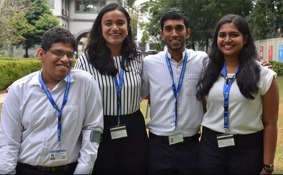 Kasunjith Sataranachchi (left), with his fellow Youth Leads at UNDP, Sri Lanka.