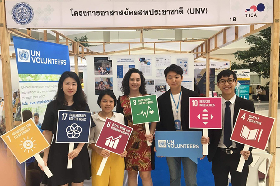 Panitee Nuykram (second from the left) serves as UN Volunteer Media and Communications Officer with IOM in Thailand. Here she is advocating for the Sustainable Development Goals with colleagues.