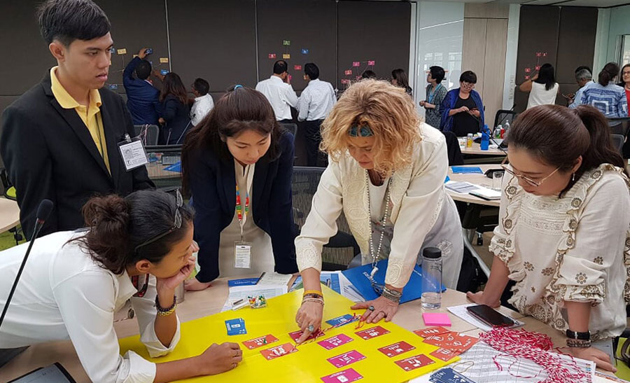 Workshop participants applying systems thinking to map specific entry points where volunteerism could accelerate progress on the Sustainable Development Goals.