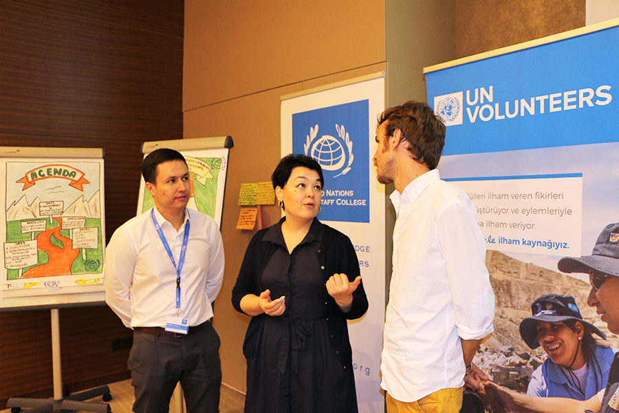 UN Volunteers Jasurjon Ibragimov, Kanykei Ergesheva and Luis Espuny at first Youth for South orientation training in Istanbul, Turkey.