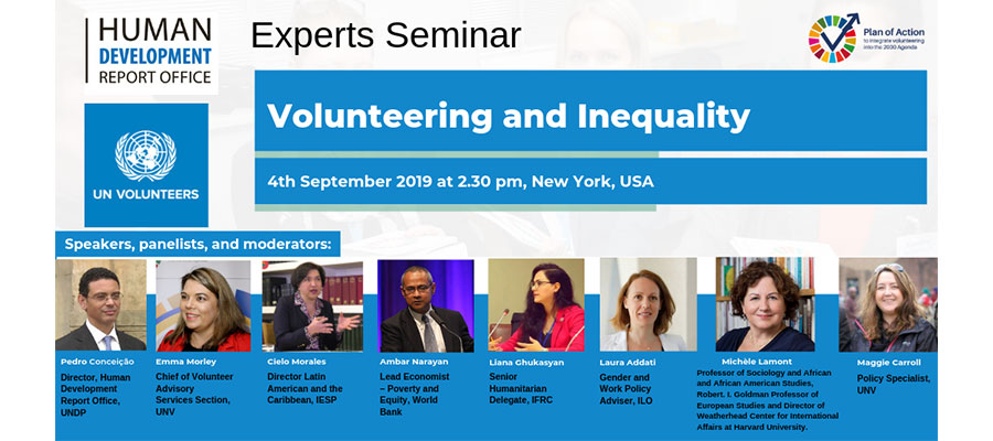 Volunteering and Inequality: A Joint Seminar by UN Volunteers and the Human Development Report Office (HDRO), in September 2019.