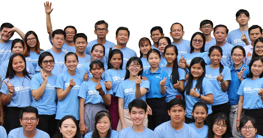 UN Volunteers and youth volunteers engaged in a pilot innovative approach to develop youth skills through volunteering, as part of a partnership between UNV and Cambodia, funded by IBSA.