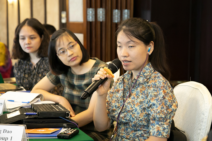 HuongDaoThu serves as a national UN Volunteer Disability Rights Officer with the United Nations Development Programme (UNDP) in Viet Nam. Here, she takes the floor to contribute her perspective during a training on the Human Rights Based Approach to Pro