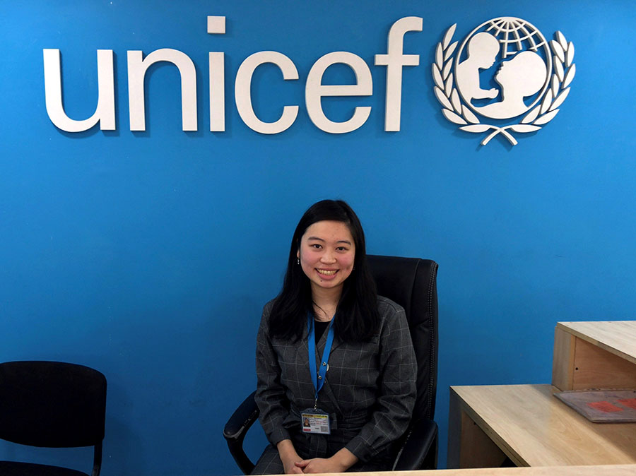 Yuka Kuratsu at UNICEF MENA Regional Office in Amman, Jordan.