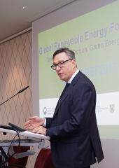Olivier Adam speaking at the Global Renewable Energy Forum 2017