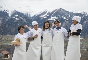 "Tajik cheese makers in Switzerland during one of the study trip organized as part of the ""Cheese exchange"" initiative initiated by Martina Schlapbach while she served as UN Volunteer Associate Project Officer with UN Women in Tajikistan."
