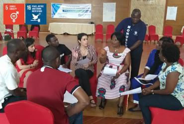 Daniel Marie Lushimba, Conduct and Discipline Officer with MONUSCO, supervising the group work about sexual exploitation and abuse during the learning seminar in Goma, Democratic Republic of Congo.