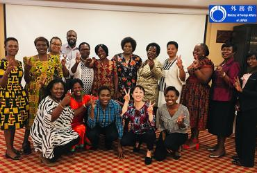 Ai Morita (Japan) serves as a UN Volunteer Peace and Development Specialist with UNDP under the Human Resource Development Programme for Peacebuilding and Development. Here, she is seen with participants in the Women in Peacebuilding Forum, Malawi.