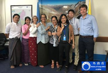 Sho Matsumura (second from right), HRD-UN Volunteer M&E and Reporting Officer in Myanmar, with the members of his team in the Resident Coordinator's Office.