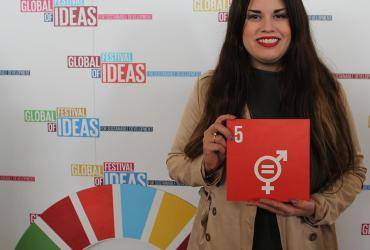 UN Online Volunteer Karol Alejandra Arámbula Carrillo at the Global Festival of Ideas for Sustainable Development that took place in Bonn in March 2017.