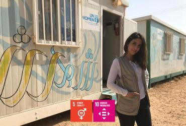 UN Volunteer Natalie Nustas (Jordan) at Za'tari refugee camp in Jordan.