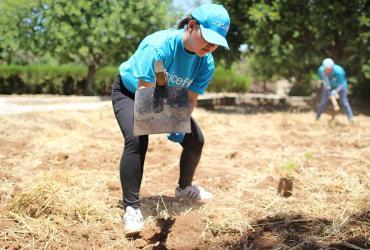 UN Volunteer Shoko Nakatomi, Youth and Adolescent Development Officer with UNICEF, Jordan, during a climate change activity.