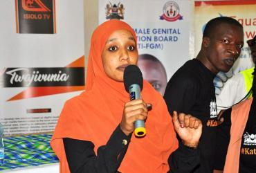 Aisha Hussein addressing young people at an End FGM event in Isiolo County, Kenya.
