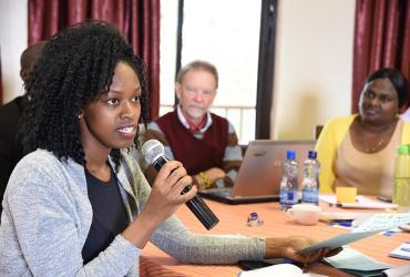 Primrose Kibirigi, national UN Volunteer with UN Women in Uganda, makes a pitch for better advocacy for volunteerism for peace and development during the UNV East and Southern Africa capacity development training in Nakuru, Kenya.