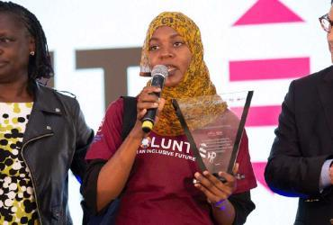 Shamimu Siraji, national UN Volunteer IT Associate, speaks after receiving her Volunteer of the Year Award at the East and Southern Africa Volunteer Awards Festival, held on 5 December 2019 in Nairobi, Kenya.