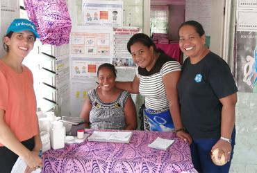 UN Volunteer Ella Ballerini during a monitoring and evaluation visit of PHC facilities in Kiribati.