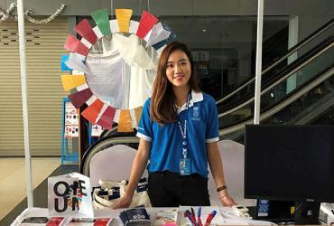 UN Volunteer Queenie Law (Hong Kong, SAR China) at the launch of the UNDP Accelerator Lab, held in Vientiane, Lao PDR, in 2019.