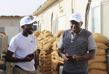 Rontal Dixon Saint-Juste (Haiti), UN Volunteer Logistics Officer and Jackson Mwakwilay (USA), UN Volunteer Movement Control Officer, serve with the United Nations Multidimensional Integrated Stabilization Mission in Mali (MINUSMA) in Tessalit.