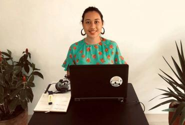 Lea Desgranges, UN Volunteer Governance Programme Analyst at UNDP Senegal, telecommuting due to the COVID-19 pandemic.