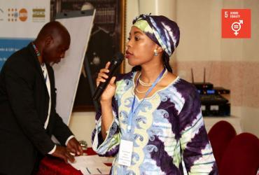 UN Volunteer Angela Nnoko Mejane presenting during a capacity building workshop on gender mainstreaming, prevention and response to gender-based violence in emergency and humanitarian settings in Dakar, Senegal.