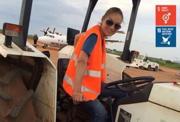 UN Volunteer Air Operations Assistant Ia Sakaadze serves with UNMISS in South Sudan, controlling safe ground operations on the airfield.