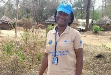 UN Volunteer Okwa Morphy from Nigeria, serving with the UN Mission in South Sudan (UNMISS).