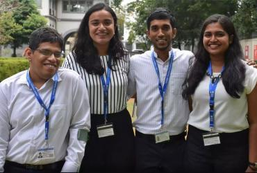 Kasunjith Sataranachchi (left), with his fellow Youth Leads at UNDP, Sri Lanka.