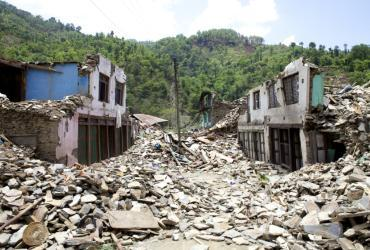The village of Nuwakot destroyed after Nepal's 2015 earthquake.