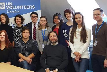 Yurii Chernukha, national UN Volunteer (first from right) with fellow UN Volunteers in Ukraine.