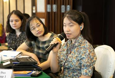 Huong Dao Thu serves as a national UN Volunteer Disability Rights Officer with the United Nations Development Programme (UNDP) in Viet Nam. Here, she takes the floor to contribute her perspective during a training on the Human Rights Based Approach to Pro